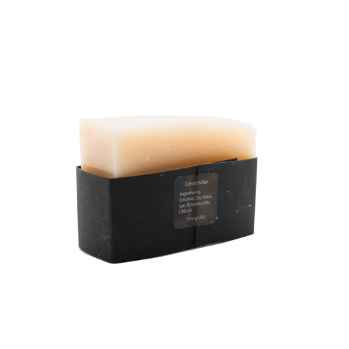 back of soap with black packaging