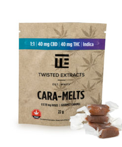 four candies next to product packaging