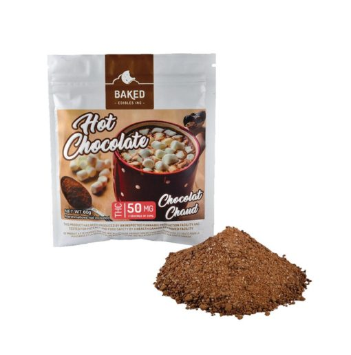 chocolate mix next to white packaging with product label